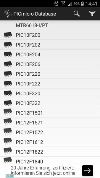 صفحة متحكمات عائلة PIC ضمن قسم المراجع في التطبيق